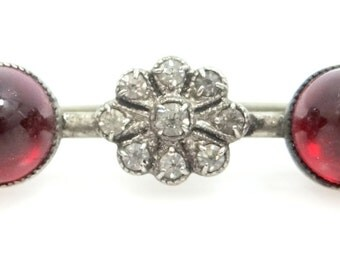 Pretty Art Deco Simultated Diamonds & Rubies Bar Pin