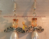 CRPS, RSD, M.S., Leukemia, Lupus, Orange Awareness, Guardian Angel, Earrings