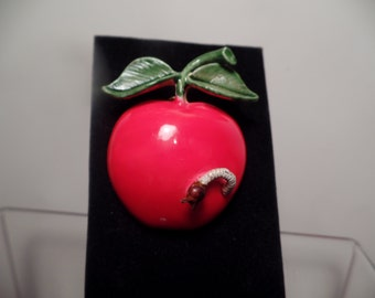 Delightful Apple with Worm Brooch Signed Original by Robert-1960's