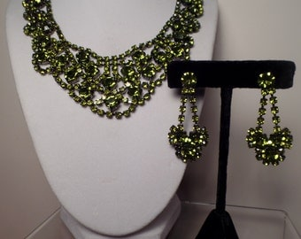 Elegant Set with Olive Green Rhinestones-Fabulous Sparkle and Color!