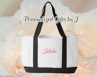 8 Personalized Monogrammed Tote, Mother of the Bride Gift, Bridesmaid Tote, 2- Color Tote Bags, Beach Bag, Embroidered Tote Bag