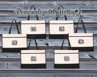 Monogrammed Tote Bag (set of 8)- Bridesmaid Gift- Personalized Bridemaid Tote - Wedding Party Gift - Name Tote-