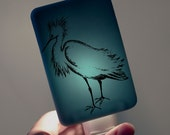 Snowy Egret Nightlight on Ocean Blue Fused Glass Night Light - Gift for Baby Shower or Nature Lover - Florida wildlife Bird