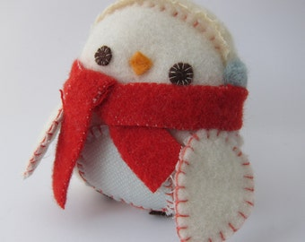 Snow Drop Penguin Softie in Red and Blue