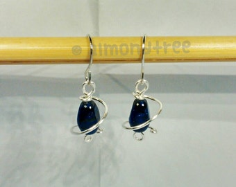 Dark Navy Blue | spiral wirewrapped earrings, handmade jewellery, jewelry, id178001 Ohrringe, boucles d'oreilles, dangle, gift for her