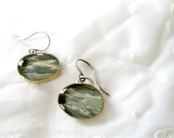 vintage postcard earrings, moonlight on clouds, sterling silver and brass