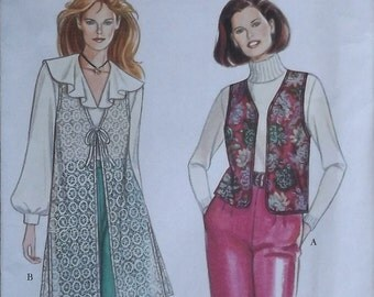 Super Easy Short and Long Vest Pattern - Simplicity 9136 / DIY instructions for 90s dusty style tie front vest