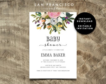 Baby Shower Invitation INSTANT DOWNLOAD |  Editable Baby Shower Invite Template | Floral, Blue, Diana Collection  | Printable PDF