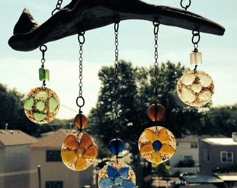 Sea Glass Mobile/Suncatcher Multi Color Flowers-Small