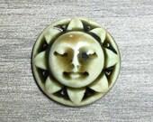 Sunshine Face Ceramic Cabochon Stone in Antique Peachy