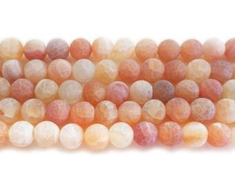 Light Orange Matte Agate Round Gemstone Beads