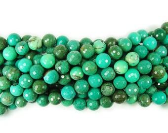 Australian Green Grass Agate Faceted Gemstone Beads