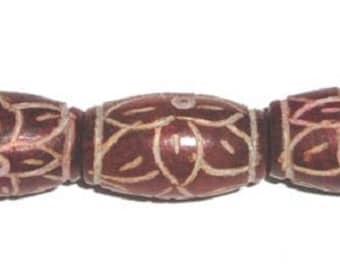 Antiqued Henan Jade Carved Red Barrel Gemstone Beads