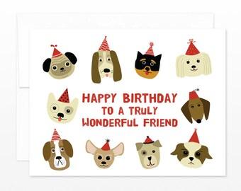 Cute Birthday Dog Friend Card - Dog Lover - Happy Birthday to a Truly Wonderful Friend Greeting Card, card for him, card for dog lovers