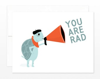 Funny You Are Rad Card, Friendship - Turtle with Megaphone