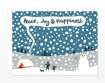 Snow Day Christmas Card - Peace, Joy & Happiness Holiday Card, Winter Solstice Card, Family Holiday Card, Xmas Card, Coworker Card
