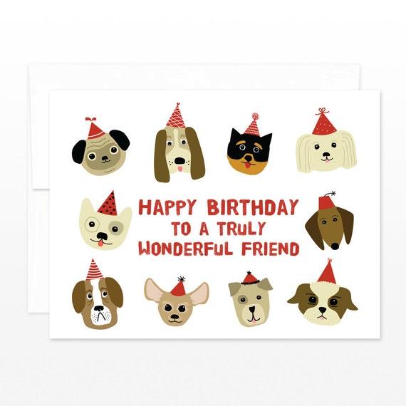 Cute Birthday Dog Friend Card Dog Lover Happy Birthday to – Happy Birthday Dog Card