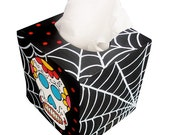 Day of the Dead Skull and Webs Tissue Box Holder Halloween Hand Painted