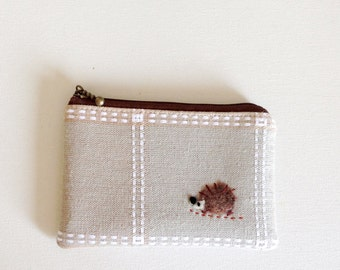 mini zipper pouch  - kitchen cloth with a hedgehog applique