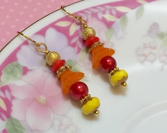Fall Leaves Earrings, Autumn Earrings, Czech Glass Earrings, Red Yellow Orange, Fiery Earrings, Orange Flower Earrings, KreatedByKelly