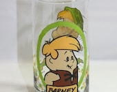 HALF OFF Barney glass, Hanna-Barbera glass, Pizza Hut collectible glass, Flintstones, Flintstones cartoon glass Barney