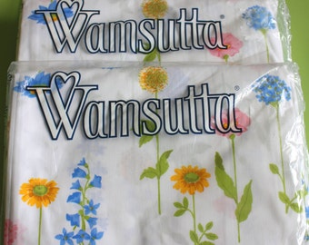 NOS Wamsutta twin flat sheet, NIP Wamsutta twin flat sheet, vintage Wamsutta twin flat sheet, Wamsutta Wildflower Compose print, Twin flat