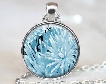 Blue Dahlia Pendant, Dahlia Art Pendant, Dahlia Necklace, Flower Jewelry, Art Pendant, Bronze, Silver, Dahlia Jewelry, Flower Pendant 375