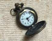 Alice in Wonderland * owl locket clock in brass * necklace