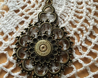 Lovely and Regal Bronze Pendant with 9mm, Bullet Necklace, Bullet Jewelry for Women, Girls with Guns