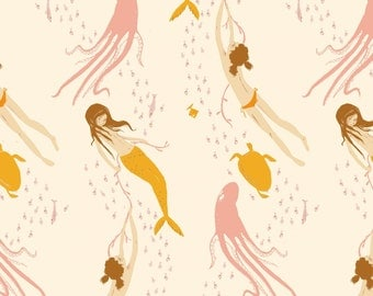 Mendocino Blush Pink Underwater Sisters Heather Ross cotton quilt fabric - one yard or by the yard, mendocino fabric, heather ross fabric