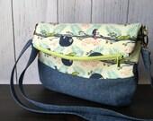 Adjustable Crossbody Foldover Bag with Zipper - Lazy Day Sloth