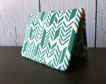Card Wallet - Teal Chevron Feathers