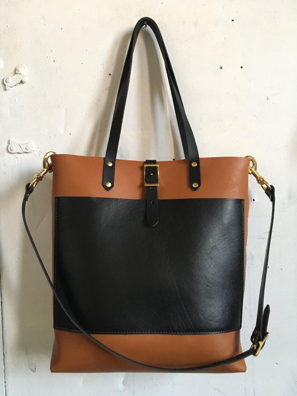 Black and Tan three pocket tote