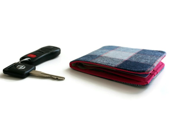 Mens Tweed Wallet / Super Thin Minimalist BillFold / Blue Grey Plaid Wool / Non-Leather Wallet