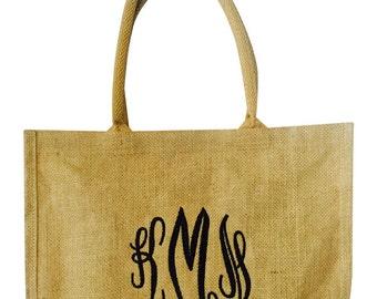 Monogrammed Jute Burlap Tote Bag Personalized Roomy Trendy Rustic Wedding Bridesmaid Bride Market Shopper