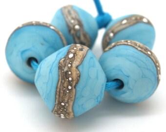 Handmade lampwork beads Turquoise bicones