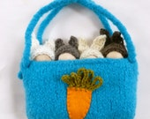 Large peg doll bunnies in a pouch set wood peg dolls felted pouch ready to ship