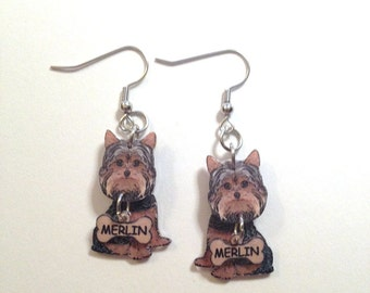 Handcrafted Plastic 3D Yorkshire Terrier Earrings Personalized with Dog Name on Dangling Bone