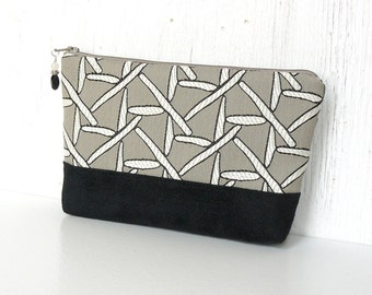 Large Zipper Pouch, Fabric Cosmetic Case, Zipper Makeup Bag - Balancing Act in Taupe, Black and White