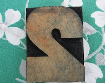 Antique Letterpress Wood Type Printers Block Wide Number Two 2