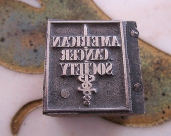 American Cancer Society Antique Letterpress Printers Block