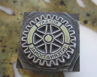 Vintage Letterpress Printers Block Rotary International