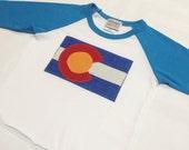 Baby Colorado Flag Baseball Tee - Blue Baby Baseball Te...