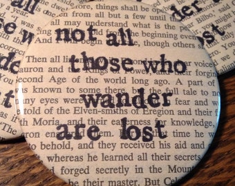 Not all those who wander are lost / Literary Pocket Mirror / Recycled Book Pages / Lord of the Rings inspired / Stocking Stuffer / Bookish