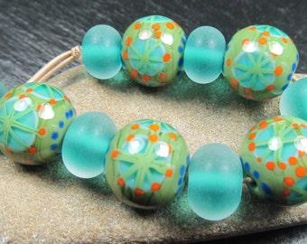 Meadow green lampwork bead set