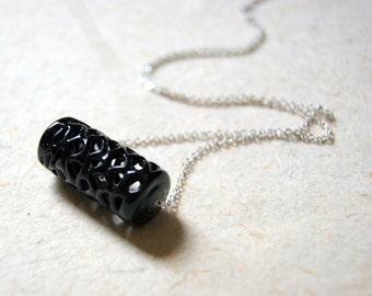 Spiderweb Bead Necklace - vintage black glass spiderweb bead necklace - vintage black lace bead necklace - black glass necklace