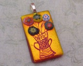 Large Dichroic Pendant Finely etched Vase of Flowers pendant, dichroic jewelry fused glass pendant Copper red dichroic glass