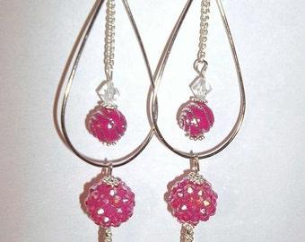Pink Teardrop Drop Shamballa Disco Party Earring