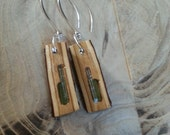 Tourmaline and aquamarine inlay Earwires Earrings sterling silver peach wood