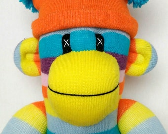 Bright striped Sock Monkey with removable pom pom hat (made to order)